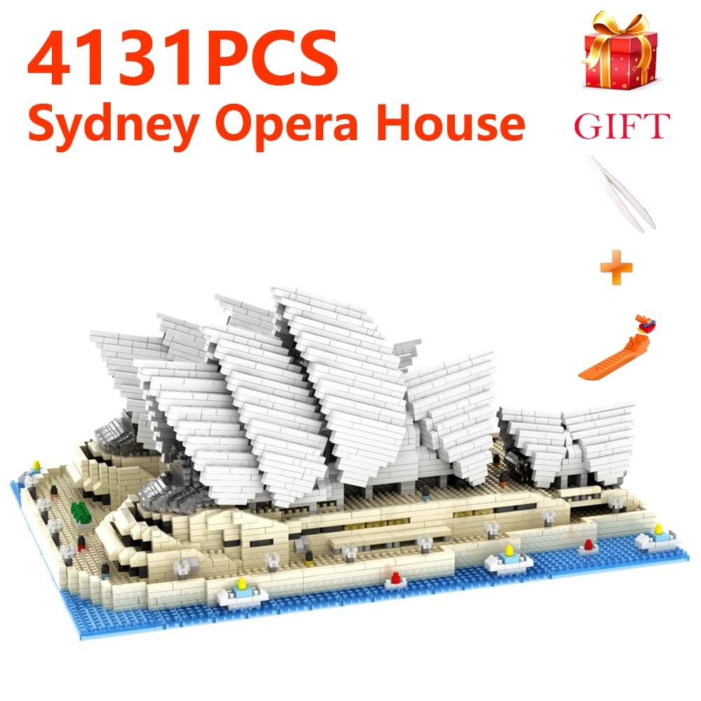 City World Famous Architecture Sydney Opera House 3D Model Diamond Mini DIY Building Blocks Toy Educational Gifts