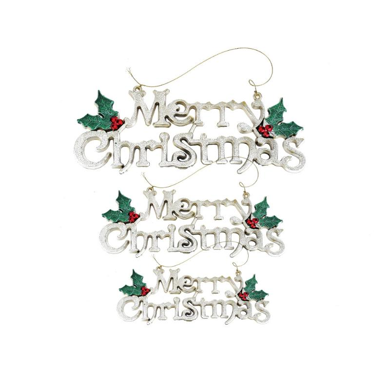 1PC Sliver Electroplating Merry Christmas Plastic Letter Pendant Christmas Tree Decorations Ornaments for Home Party S/M/L