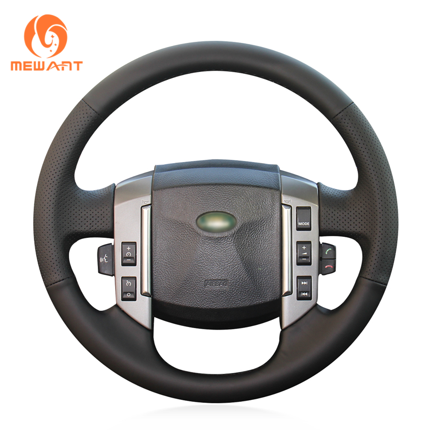 MEWANT Black Artificial Leather Car Steering Wheel Cover for Land Rover Discovery 3 2004-2009 дефлекторы окон накладные rein land rover discovery 3 2004 2009 внедорожник