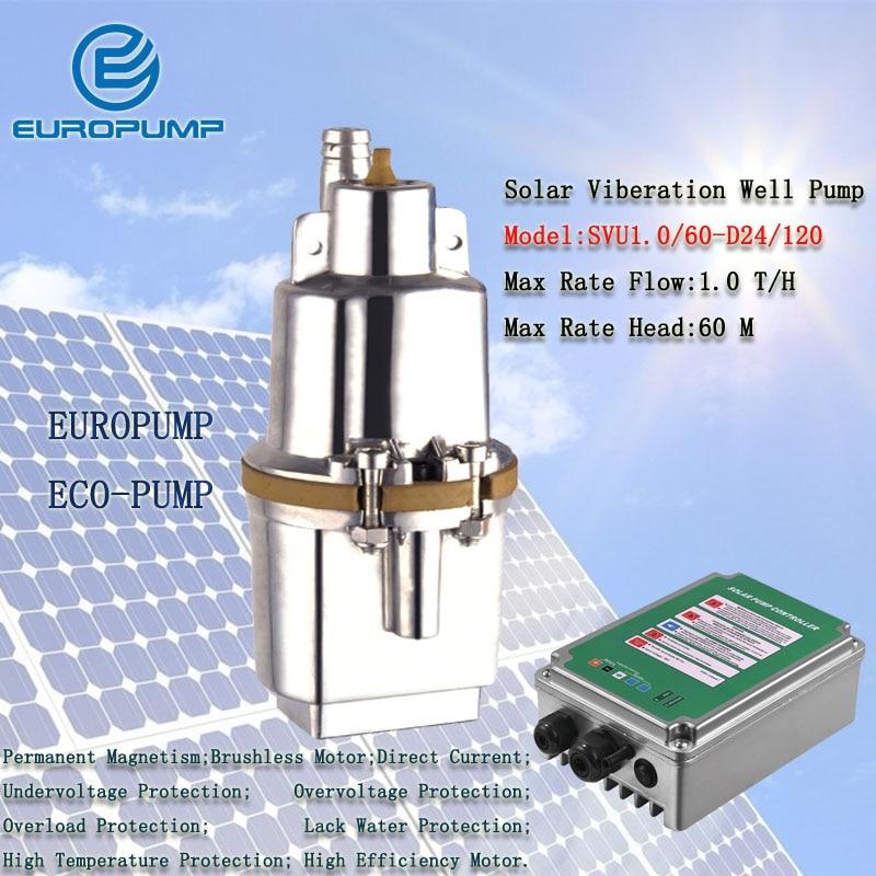 EUROPUMP MODEL(SVU1.0/60 D24/120) solar submersible pump for irrigation 120w max head 60meters 1000L/H solar well water pump