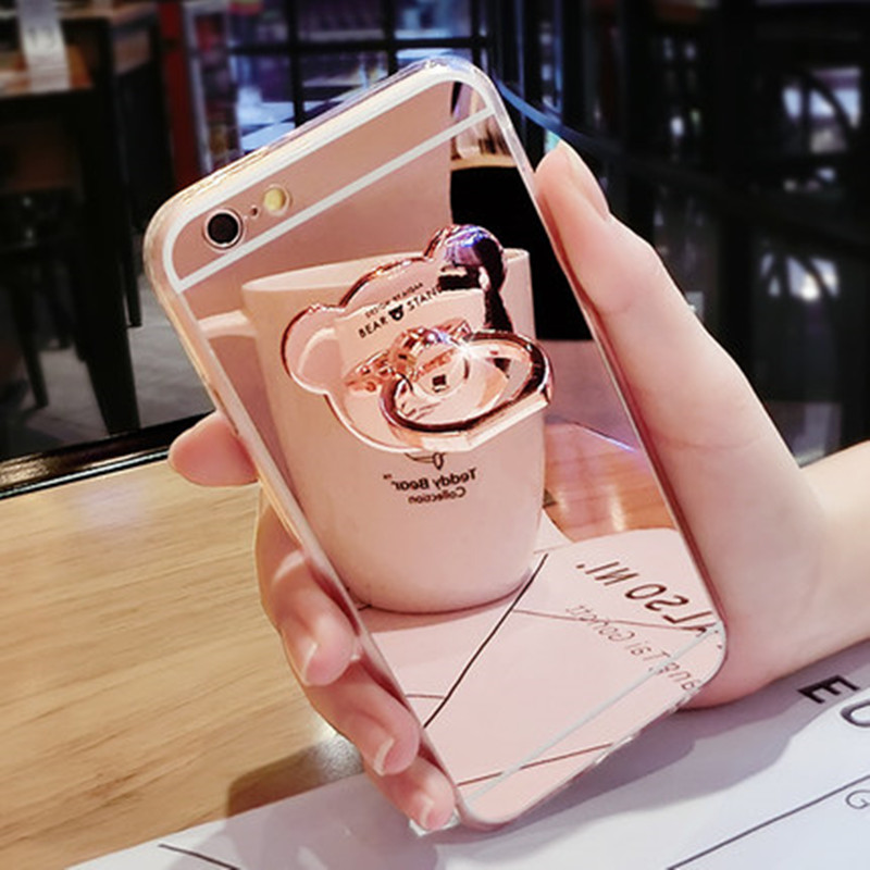 Luxury Soft Silicone Mirror <font><b>Phone</b></font> Case for iPhone 8 Plus Cover <font><b>Bear</b></font> Finger <font><b>Ring</b></font> Stand Holder Cover for iphone 6 6s 7 Plus Case