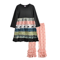 Persnickety Fall Winter Set Black Remake Dress Cotton Hot Pink Dot Ruffle Pants Sets For Children Boutique Set F135