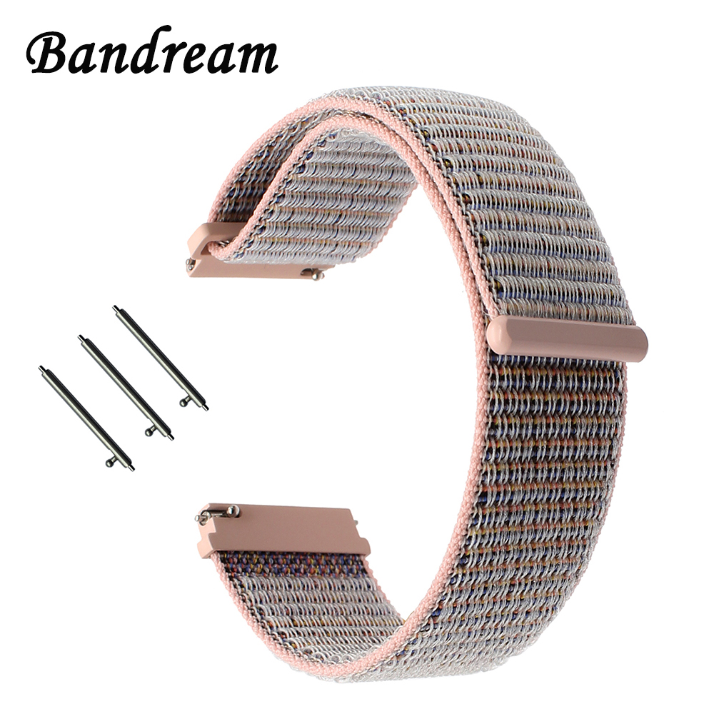 Milanese Nylon Loop Watchband 20mm 22mm For Samsung Galaxy Watch 42mm 46mm SM-R810/R800 Quick Release Band Canvas Fabric Strap