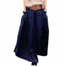 Qaturalan женская льняная Длинная летняя юбка Saia прочные юбки юбка макси женские большие карманы Высокая талия плиссированные повседневные юбки