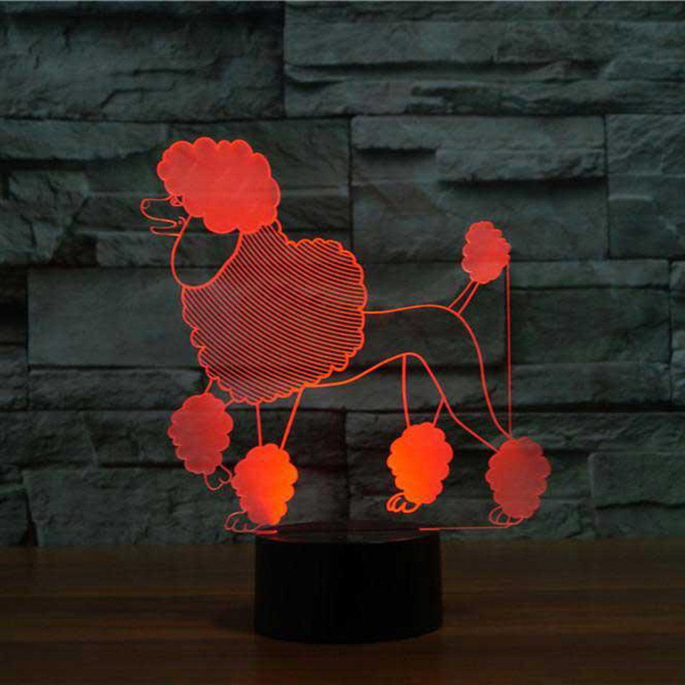 Creative 3D Poodle Shape Led Nightlight USB Colorful Visual Dog Table Lamp Lampara Bedside Sleep Lighting Bedroom Decor Gifts abstract 3d creative colorful nightlight