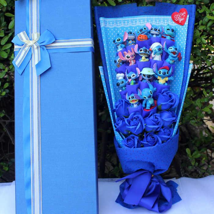 Modelo de Ponto quente de Sopa Flor Ponto Brinquedos De Pelúcia Anime Stich Lilo e Stitch PVC Bonecas Animal Kawaii Buquê Presente Romântico nenhuma Caixa