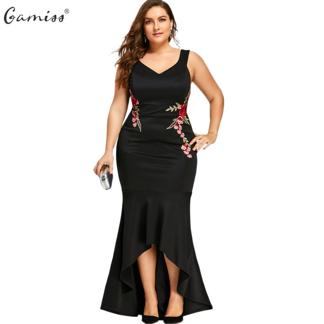 e3f8a4563bb Gamiss Women Plus Size Party Maxi Dress High Low Hem V Neck Sleeveless  Mermaid Dresses Sexy V-Neck Embroidery Floral Vestidos