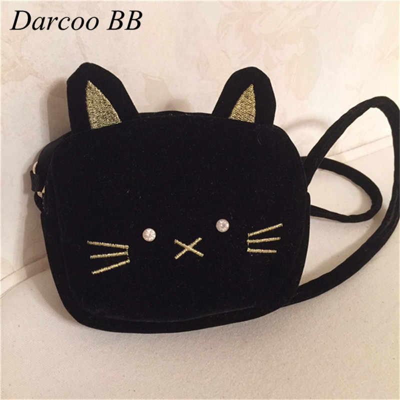Cartoon Black Cat Shape Baby Small Toys Bag Cute Children Mini Bags Kids  Girls Velvet Plush 02fc5e2c5dc7