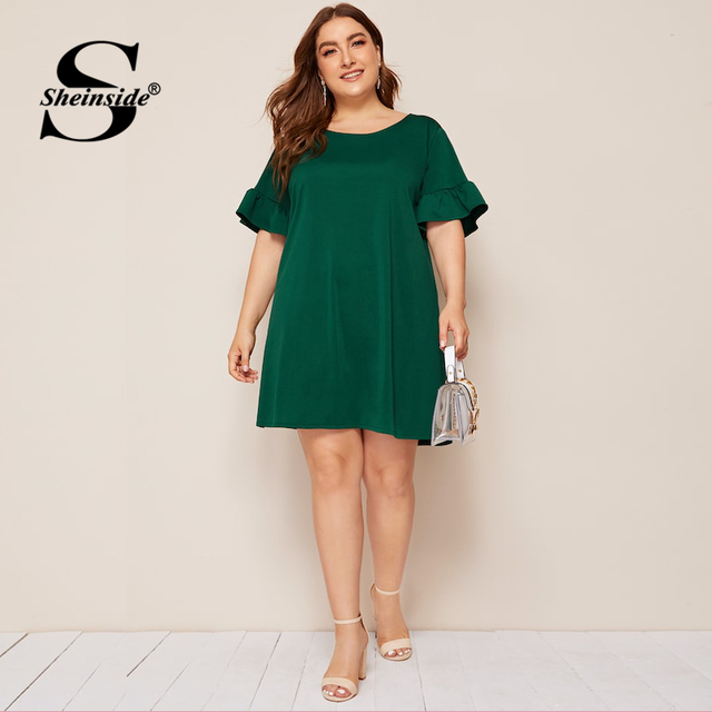 Sheinside Plus Size Green Casual Straight Dress Women 2019 Summer Short Sleeve Mini Dresses Ladies Solid Back V-Cut Dress 2