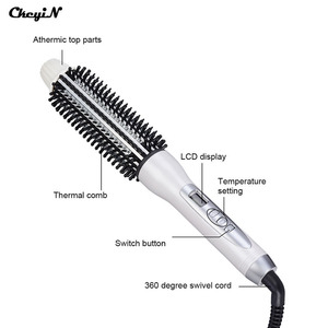 Image 5 - Professional Ceramic Anion Hair Curler Straightener Hot Heat Comb Electric LCD Hair Brush Curling Comb Round Large Roller Waver