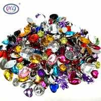 HL 100 unids/pack mucho tamaño mixto forma suelta coser-en diamantes de imitación ropa bolsas zapatos accesorios de costura manualidades DIY