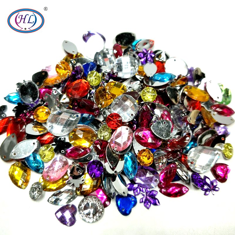 HL 100PCS/package Lots Mixed Size Shape Loose Sew-on Rhinestones Apparel Bags Shoes Sewing Accessories DIY Crafts(China)
