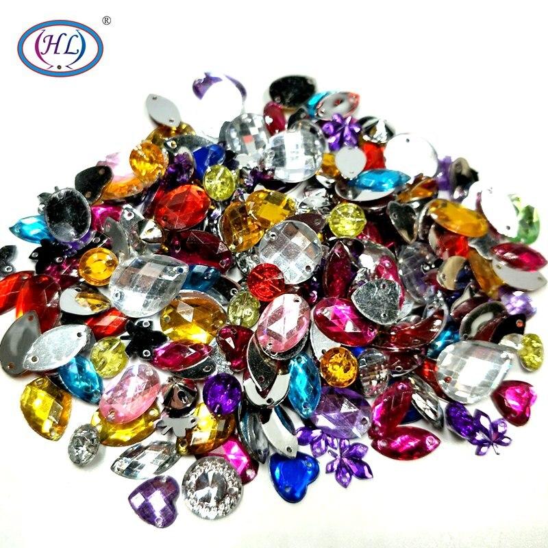 Hl 100 unidades/pacote lotes tamanho misto forma solta costurar-em strass sacos de vestuário sapatos acessórios de costura diy artesanato