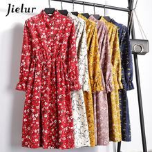 Jielur Floral Printed Ladies Dresses Autumn Winter Leisure 24 Colors Elegant Elastic Puff Sleeve Vestido Female Young Robe Hiver
