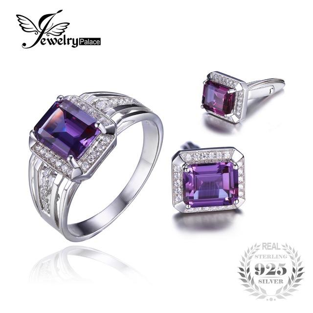 Jewelrypalace sapphirejewelry alejandrita anillo conjuntos gemelos para hombres solid 925 astilla esterlina de la joyería nupcial sets de regalo para los hombres