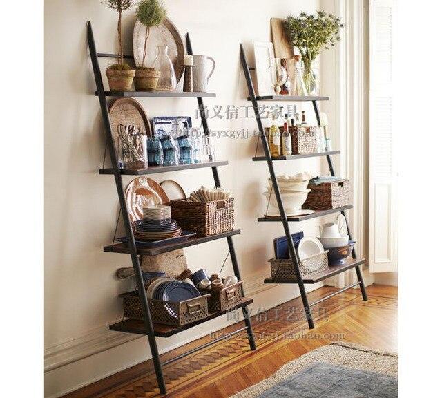 Mining American Minimalist Style Loft Vintage Wrought Iron Wood Ladder Bookshelf Display Rack