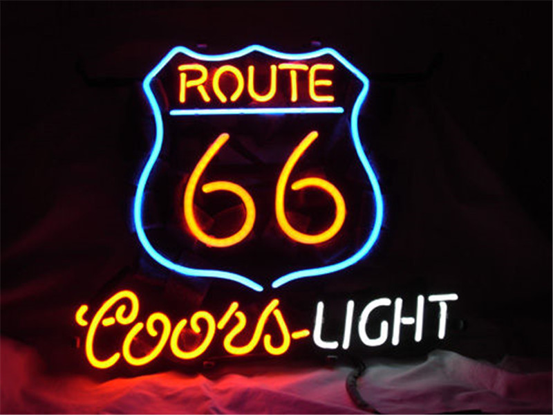 NEON SIGN For ROUTE 66 COORS LIGHT BEER Signboard REAL GLASS BEER BAR PUB display christmas Light Signs 17*14 image