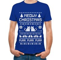 LEQEMAO Printed Tee Shirt Design Meowy Christmas Ugly Sweater Cute Xmas Party T Shirt Circle T