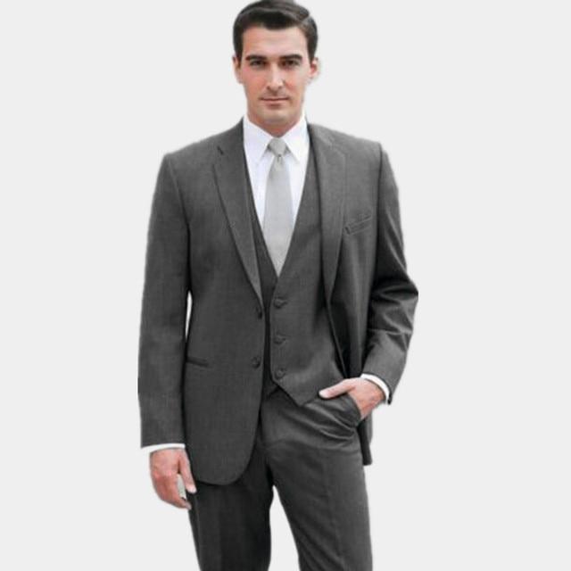 4409a54fe Nuevo diseño gris oscuro mens trajes de lana mezclado novio terno masculino  hombres del padrino de