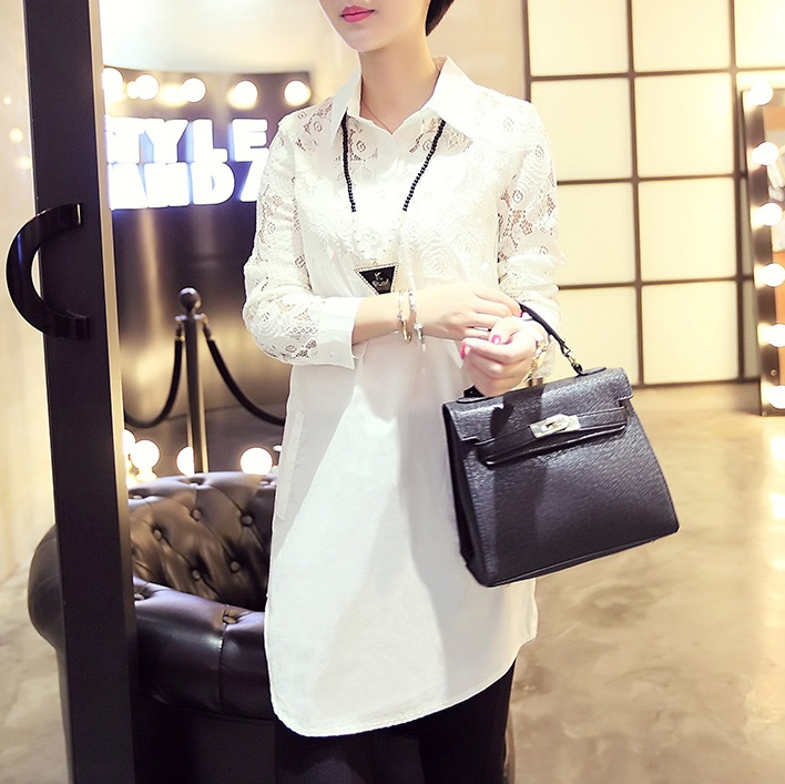 Lace Shirt For Women Batas e Blusas Vetement Haut Femme Office Work Wear Social Long Blouse Big Size Roupa Social Top S2774 ...
