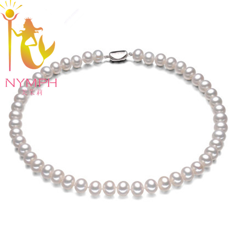 Big NYMPH 9-10mm genuine natural white pearl necklaces Luxury fine jewelry AAAA real chokers necklace for women jiuduo jewelry genuine luxury support natural pearl necklace for women beautiful shell necklaces simulated crystal jewelry