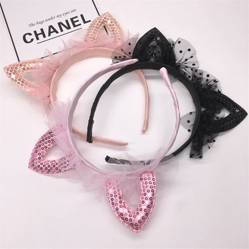 Cute Cat 39 s Ears Kids Head Hoop Veil Tiara Hairband Children Baby Shiny Hair Accessories for Girls Princess Party Hair Ornaments in Hair Accessories from Mother amp Kids