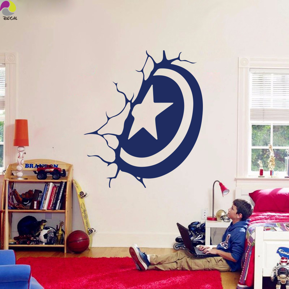 online buy wholesale comic decals from china comic decals captain america shield super hero wall sticker baby nursery kids room comics hero wall decal bedroom