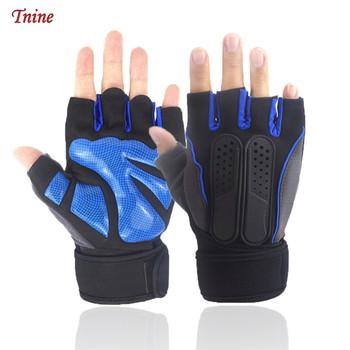 Mężczyźni kobiety treningowe rękawice gimnastyczne rękawice do podnoszenia ciężarów z paskiem na nadgarstek Guantini Fitness do siłowni trening Crossfit Rekawiczki rękawiczki tanie i dobre opinie Tnine Podnoszenie ciężarów rękawice Men fingerless gloves Polyester silicone Blue orange M L XL Half finger gloves