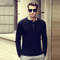 Summer 2017 Men's Solid Basic Cotton Long-Sleeve T-Shirt Button Placket Crew Neck Slim Fit Slight Elastic Lightweight Casual Tee
