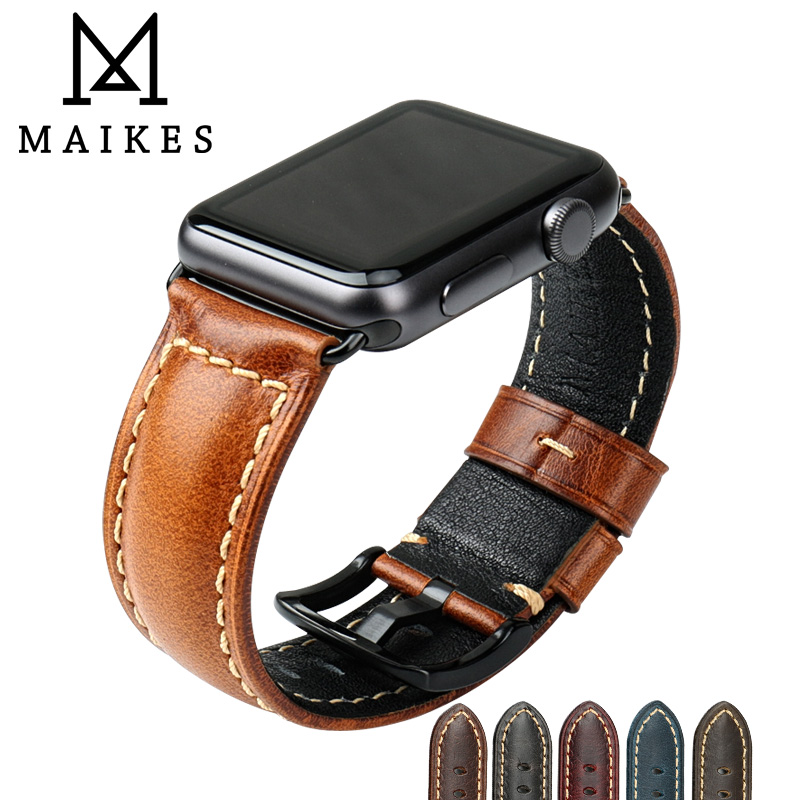 MAIKES Huile Cire En Cuir Bracelet Pour Apple Montre Bande 42mm 38mm/44mm 40mm Série 4 3 2 pour Apple Montre Sangle iWatch Bracelet