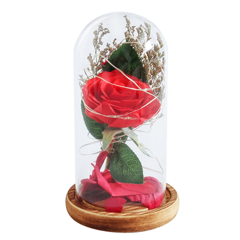 Rose Glass Cover Preserved Fresh Flower LED Flashing Glowing Floral Vase Glitter Luminous Home Decor Prop Valentines Day Gift