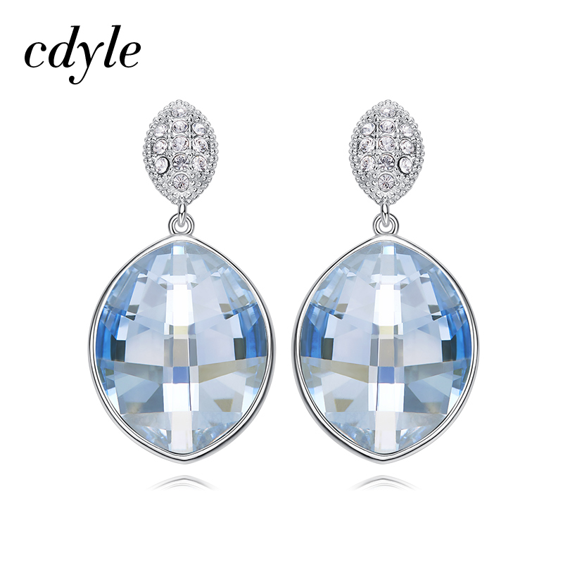 Cdyle 925 Sterling Silver Wedding Earrings Embellished with crystals from Swarovski Drop Earring Water Drop Boucles