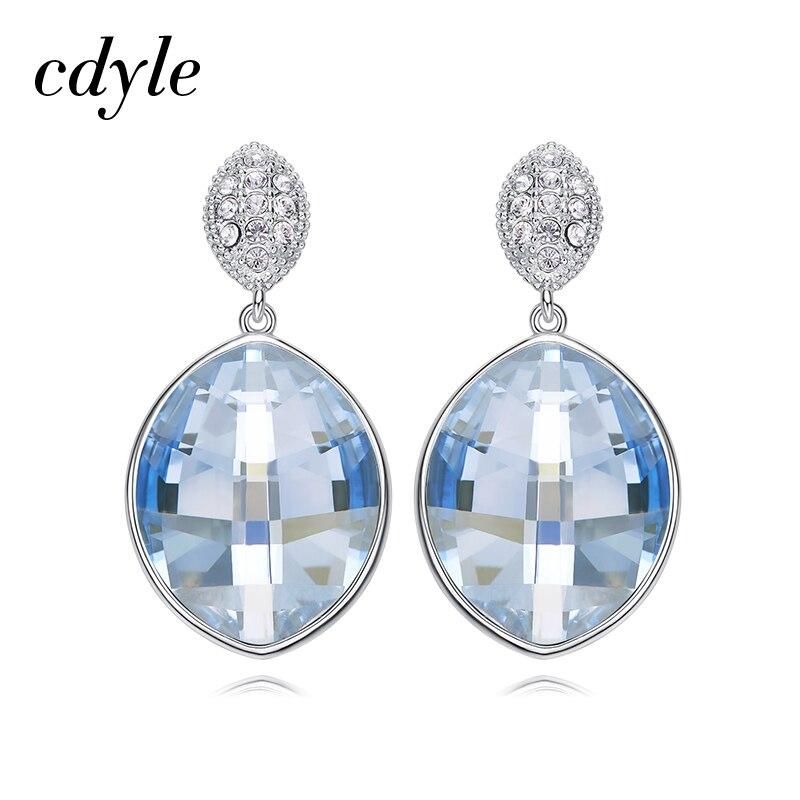 Boucles d'oreilles de mariage en argent Sterling 925 Cdyle ornées de Boucles d'oreilles en cristal goutte d'eau Boucles d'oreilles