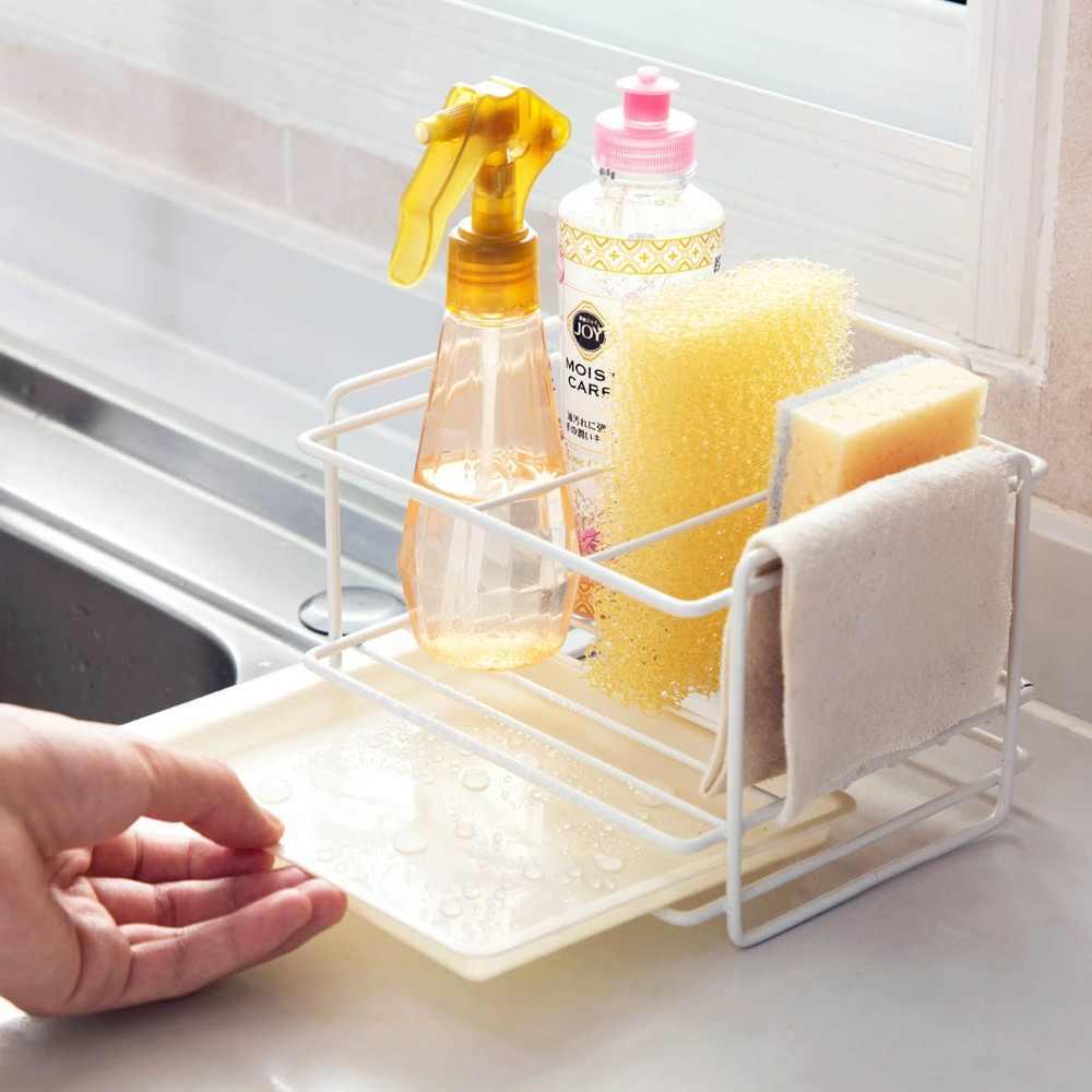 soporte de ba/ño esponja de jab/ón estante de drenaje Soporte de almacenamiento para fregadero cocina ajustable organizador de cocina Beige beige
