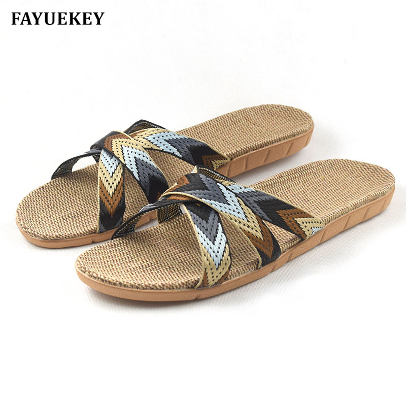 FAYUEKEY Fashion Summer Home Linen Mixed Color Breathable Slippers Men Indoor\Floor Beach Boys Open-Toed Slides Slippers Shoes fayuekey 2018 new fashion summer home linen non slip breathable slippers men indoor floor outdoor beach boys flat slides shoes