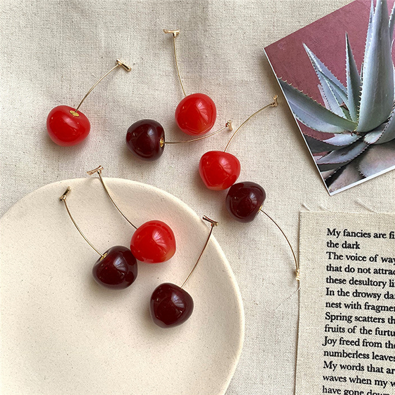 Asia Cute Sweet Simulation Red Cherry Gold Color Fruit Stud Earrings for Women Girl Student Gift