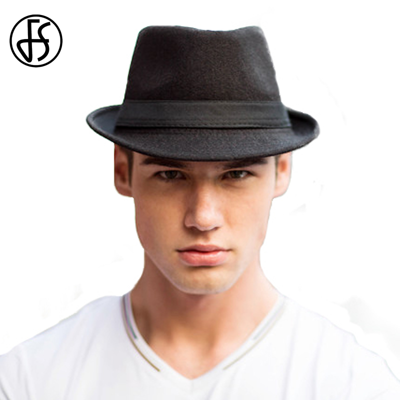 Men Fashion With Fedora Hats: FS Fashion Mens Fedora Wool Trilby Hats For Male Winter