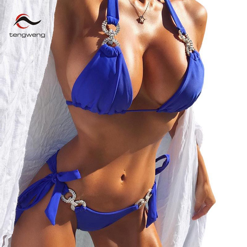 Tengweng 2018 New Crystal Swimsuit Bikini Rhinestone Swimwear Women Sexy Swimsuit Big size 2 piece Female Brazilian Bathing suit 1
