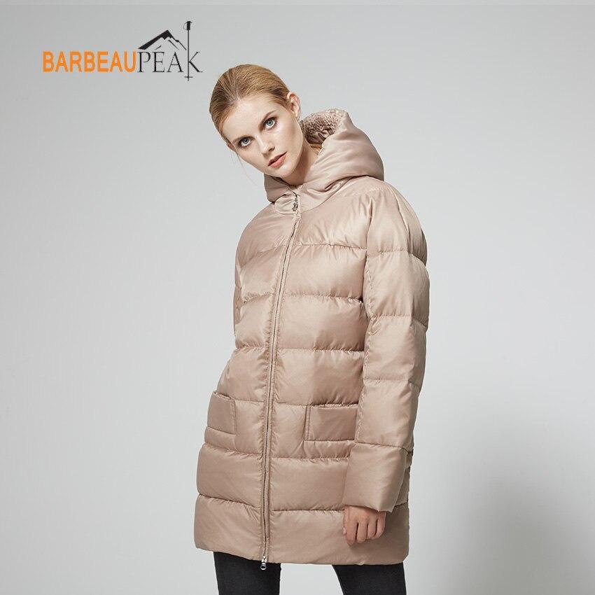 Barbeaupeak 90% White Duck Down Jacket Women Long Solid Full Sleeve Casual Woven Autumn Winter Warm Down Coats Jacket Female