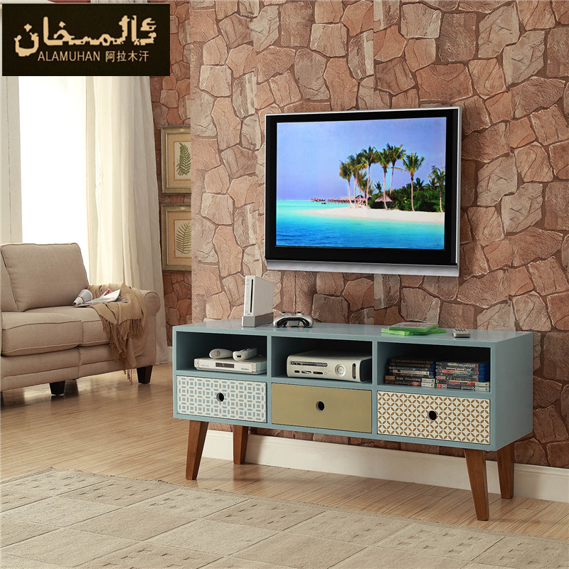 Solid wood tv cabinet side cabinet modern small apartment for 7 piece living room set with tv