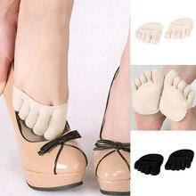Yogis Women Socks Sponge Silicone Anti-slip Lining Open Toe Heelless Liner Sock Invisible Forefoot Cushion Foot Pad Cotton Socks