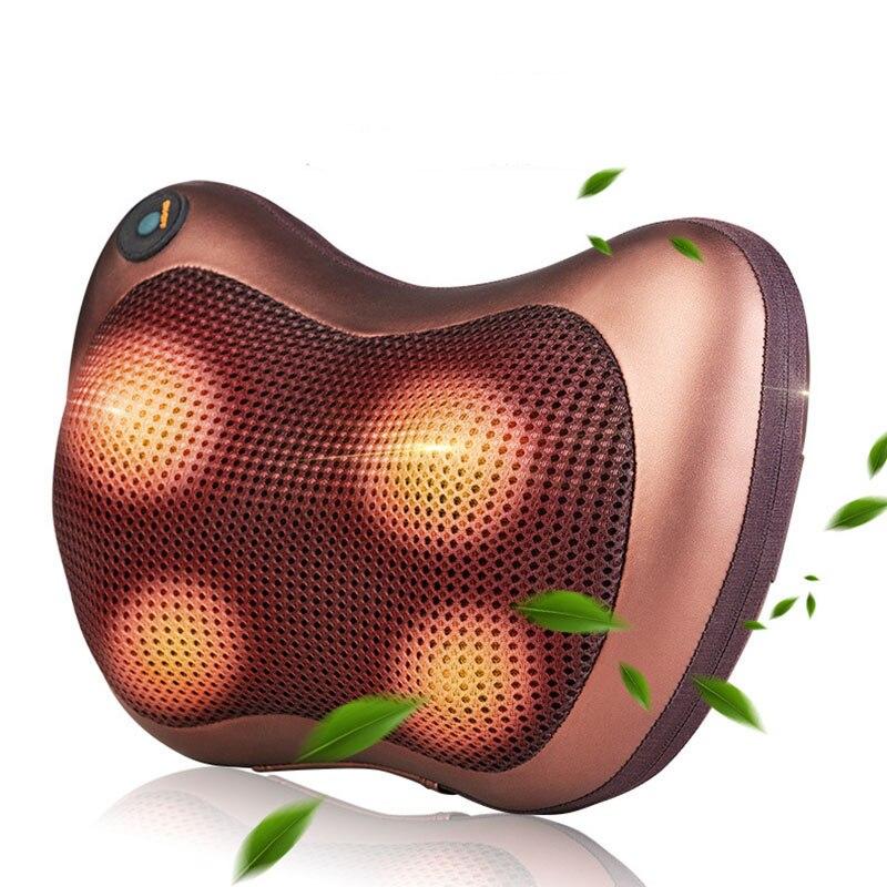 Almohada de masaje de rodillos para silla de cuello calefacción infrarroja amasado cuello hombro coche Shiatsu masaje y relajación