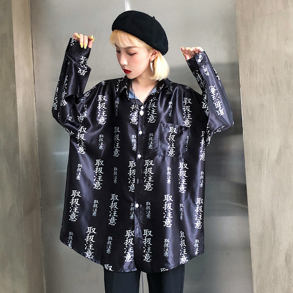 2018 Fall Casual Gothic High Street Hip Hop Black Plus Size Women Blouses Loose Lapel Print Girls Fashion Chic Female Shirts