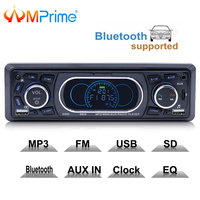 AMPrime 1din 12V Bluetooth Car Stereo FM Radio MP3 Audio Player 5V Charger USB SD AUX Auto Electronics Subwoofer 1 DIN Autoradio