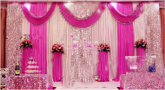 2018 Hot Style 10ft 20ft Fuchsia Wedding Backdrop With Sequin Pink Curtain