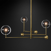 3 Heads Nordic Loft Apartment Pendant Light Creative Geometry Glass Ball Hanging Lights Bar Kitchen Led Lights Free Shipping