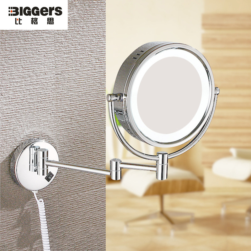 Free Shipping Round 8 Inch Copper Frame LED Makeup Mirror European Telescopic Folding Double Side Magnifying Bath Mirrors