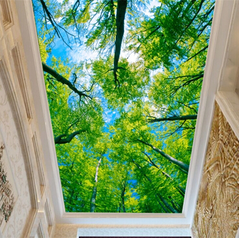 Free Shipping 3D Blue sky Green trees wallpaper living room sofa TV backdrop bedroom coffee house ceiling wallpaper mural  free shipping england wind red white blue fashion backdrop tv backdrop bedroom living room mural wallpaper