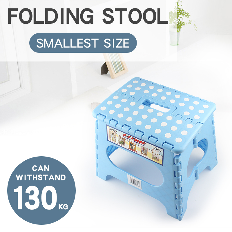 Plastic Children's Stools Portable Foldable Collapsible Stool Strong And Durable Maximum Load 130KG Blue Or Pink Can Optional S