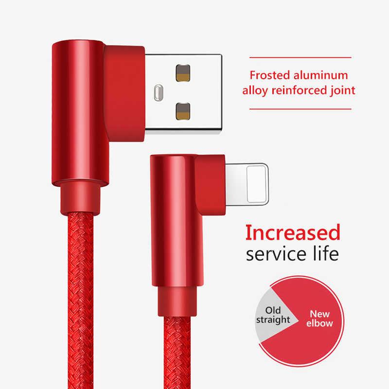 ! ACCEZZ Illuminazione Cavo USB Per il iphone 7 X Xs Max XR 90 Gradi Cavo di Ricarica Ricarica Veloce Gioco di Dati del Caricatore cavi Per iOS 12 2 M